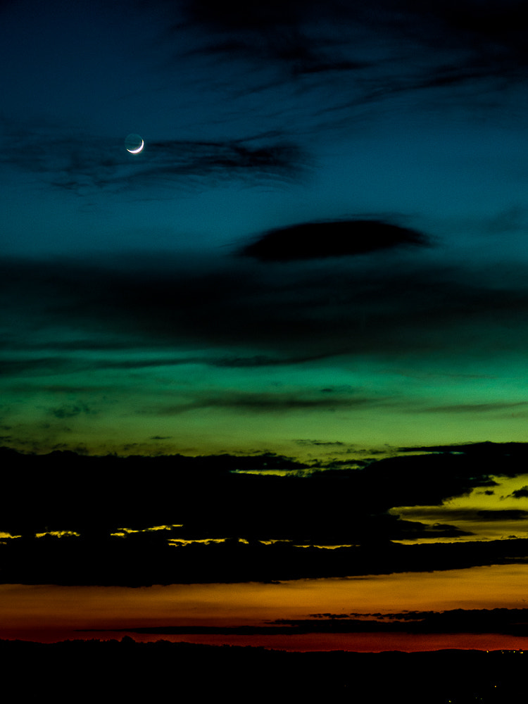 Photograph Night sky with crescent moon. by Michal Jenčo on 500px