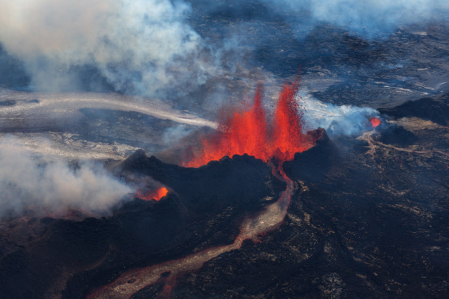 landscape photography - Aerial View of Holuhraun Eruption by Iurie Belegurschi on 500px.com