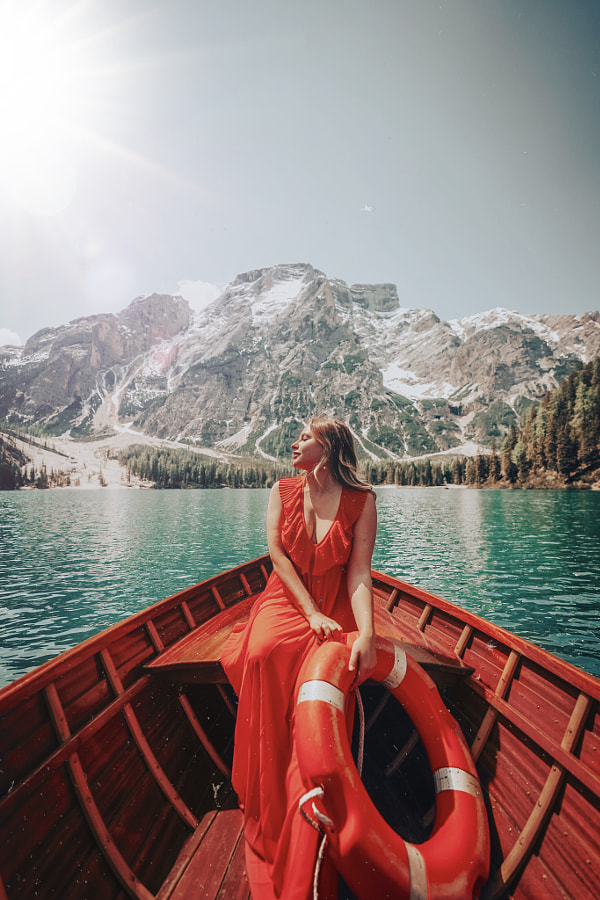 Boat trip on Braies in Red Dress by Maria Cher on 500px.com