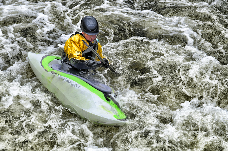 Kayak in the rapids photographed at Holme Pierrepont National Water Sports Centre in the UK
