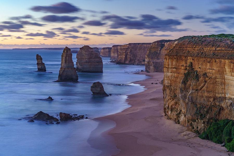 twelve apostles, sunset,great ocean road,australia by C. B.