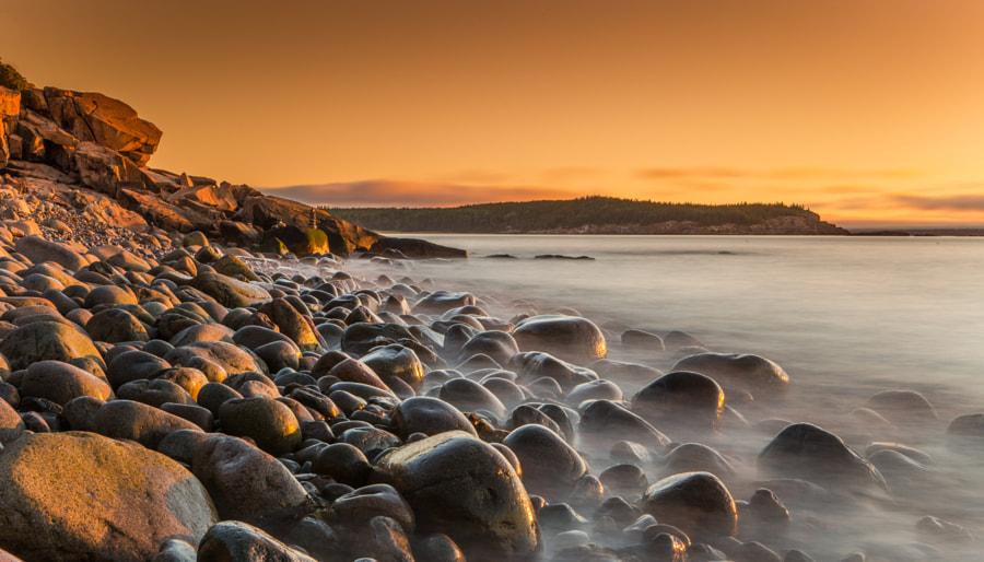 Sunrise Twilight at Pebble Beach in Acadia National Park, Maine by John S