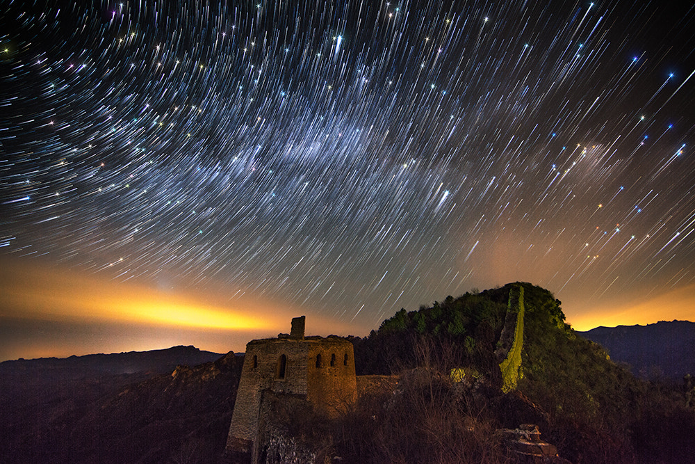 Photograph Star Trails above Simatai Great Wall by Isaac Si on 500px