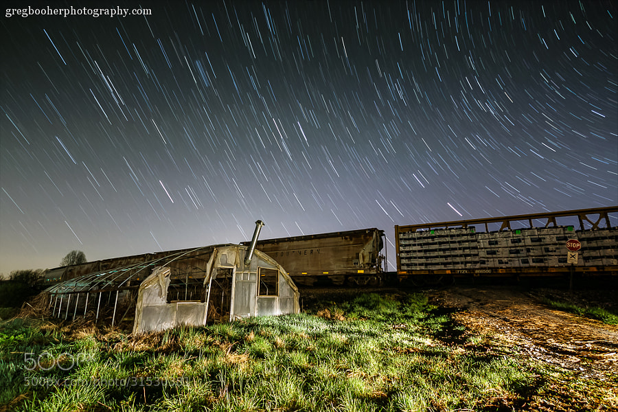 Photograph Night Train at the Old Greenhouse by Greg Booher on 500px