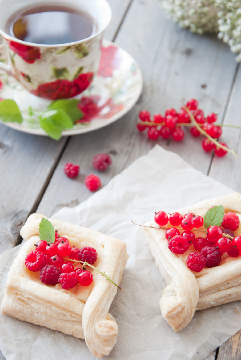 Photograph Puffs with custard and berries by letterberry on 500px