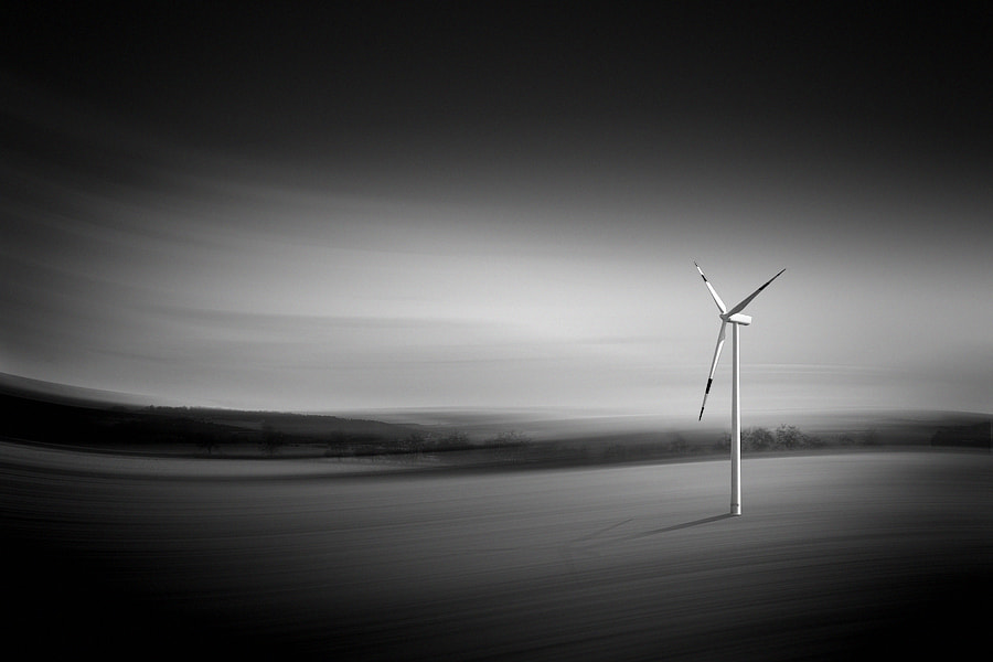 Photograph the windmill b&w by Max Ziegler on 500px