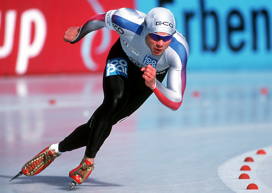 Ådne Søndrål (born 10 May 1971 in Notodden) is a former Norwegian speed skater. Søndrål, representing Hol IL, was one of the best 1500 m skaters through most of the 1990s. He placed 2nd in the 1992 Winter Olympics and 4th in the 1994 Olympics. He finally won Olympic gold when he won 1500 m in the 1998 Winter Olympics in Nagano, setting a new world record: 1:47.87. He was also one of the favourites for a 1000 m medal in 1998, but he got sick before this race and did not start. In the 2002 Winter Olympics he was the big favourite, but he dislocated both his shoulders in falls in the last two weeks before the Olympic races, and he was happy to win a bronze medal. This made his collection of Olympic medals complete - one of each colour, in addition to a 4th position. He started his career as an allround speed skater, without much success in the international allround championships. From 1996, he specialised on 1000 m and 1500 m, and he placed 2nd on both distances at the first World distance Championship. Shot taken on Fuji Provia 100F slide film. Scanned with my Nikon Super Coolscan 4000ED.  Best regards, have a nice evening and Sunday,  Harry