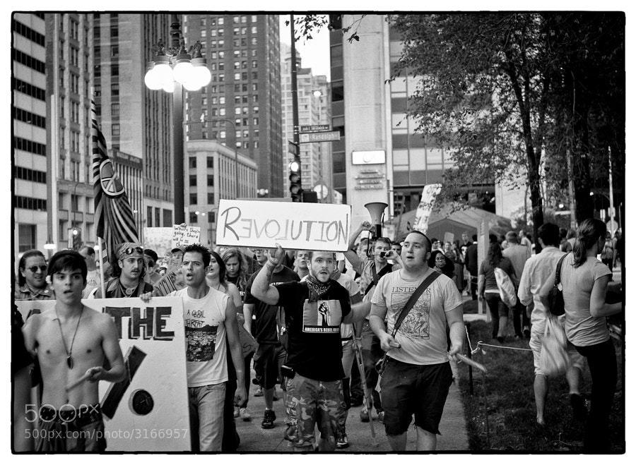 Anti-capitalism protest march in Chicago