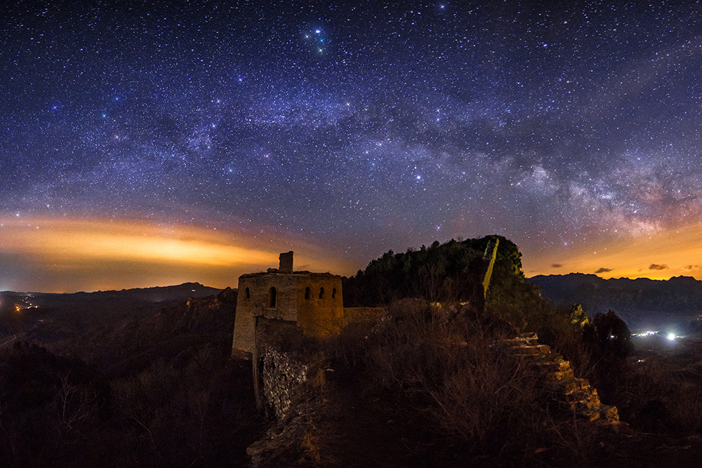 Photograph Milky Way above Simatai Great Wall by Isaac Si on 500px
