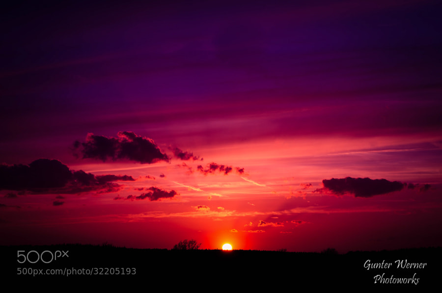 Photograph sunset red blue by Gunter Werner on 500px