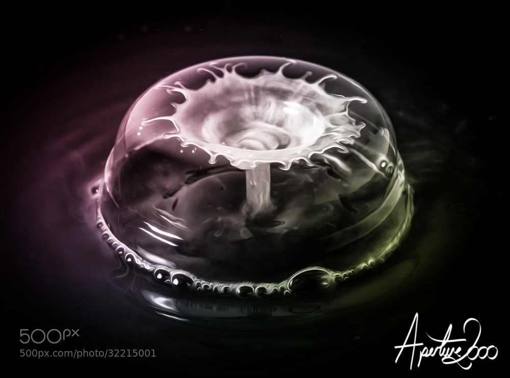 Photograph water drop collision in bubble by Colin Carter on 500px