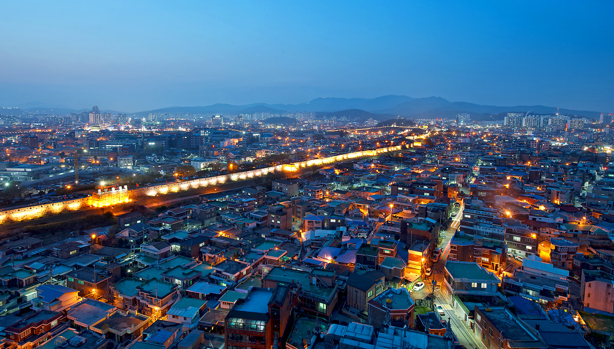 Photograph Night view on Suwon Hwasung by Eduardo choi on 500px