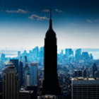 Постер, плакат: Manhattan Panorama With Empire State Building in the Center New York City Панорама Манхэттена с Emp