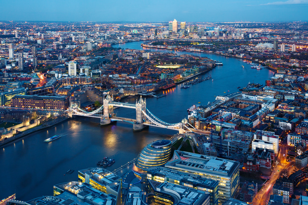 Photograph Tower Bridge to Canary Wharf, London by Simon Byrne on 500px