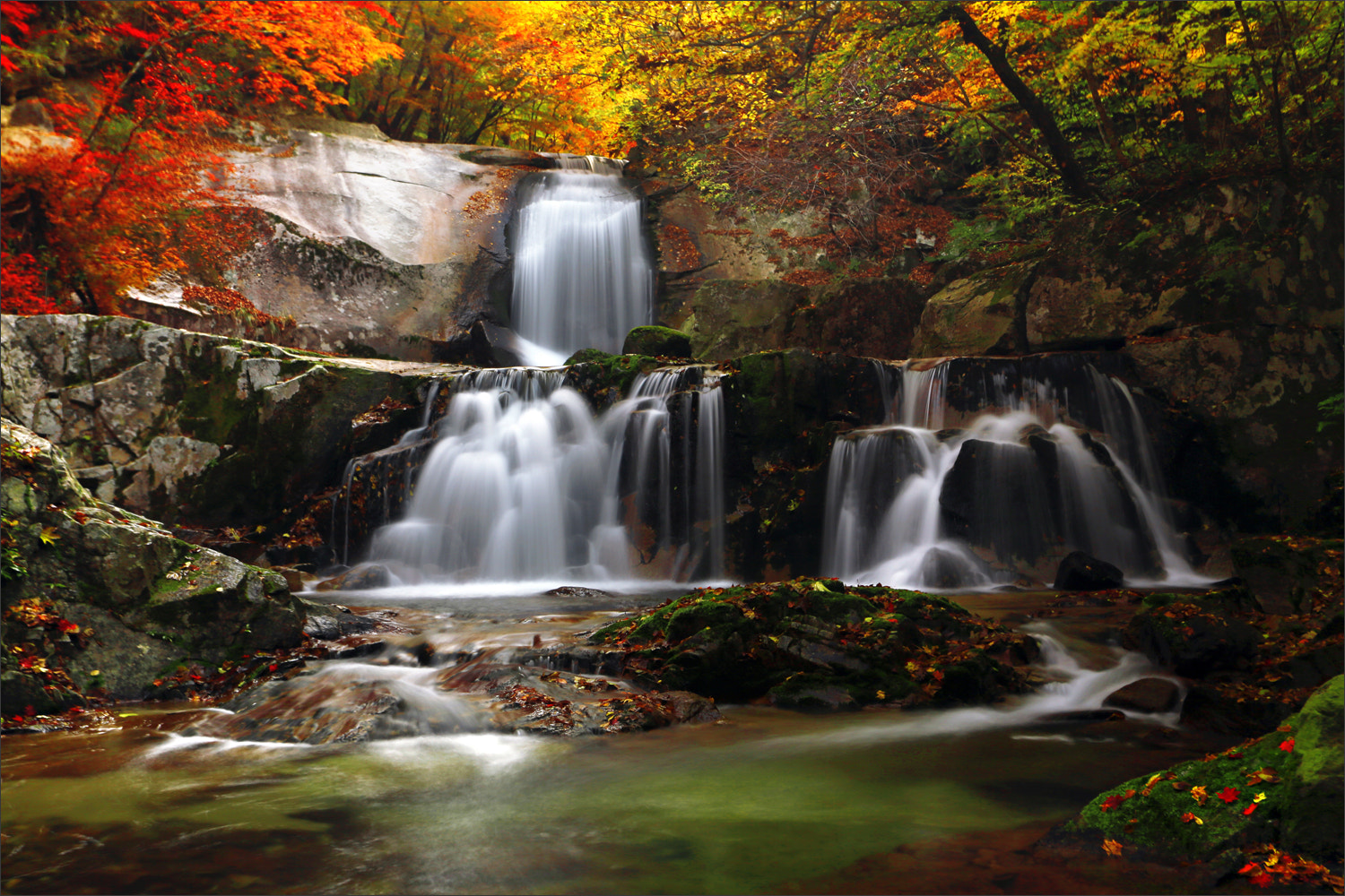 Photograph Two layers of cascade Bangtae Mt. in Korea by Woosra Kim on 500px