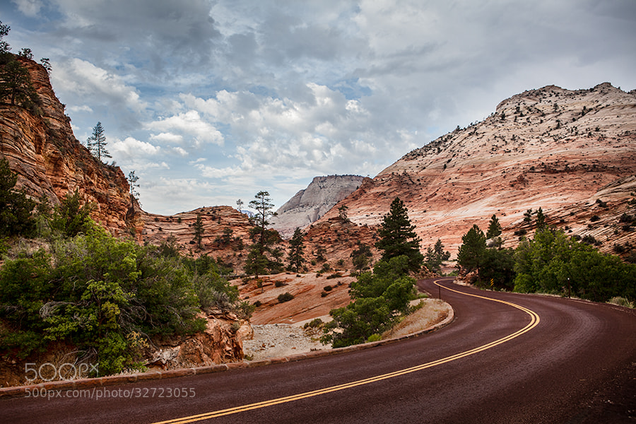 Photograph Curved Red Rock Asphalt Road Running Through The Landscape Of Sa by Susan McKenzie on 500px