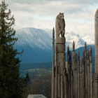 Ainu totem poles, Burnaby Mountain, BC, Canada.  The Ainu are are indigenous peoples in Japan and Russia.  More information on the Ainu here: http://en.wikipedia.org/wiki/Ainu_people