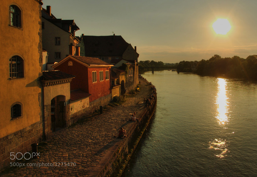 The bank of Danube river in Regensburg, Germany