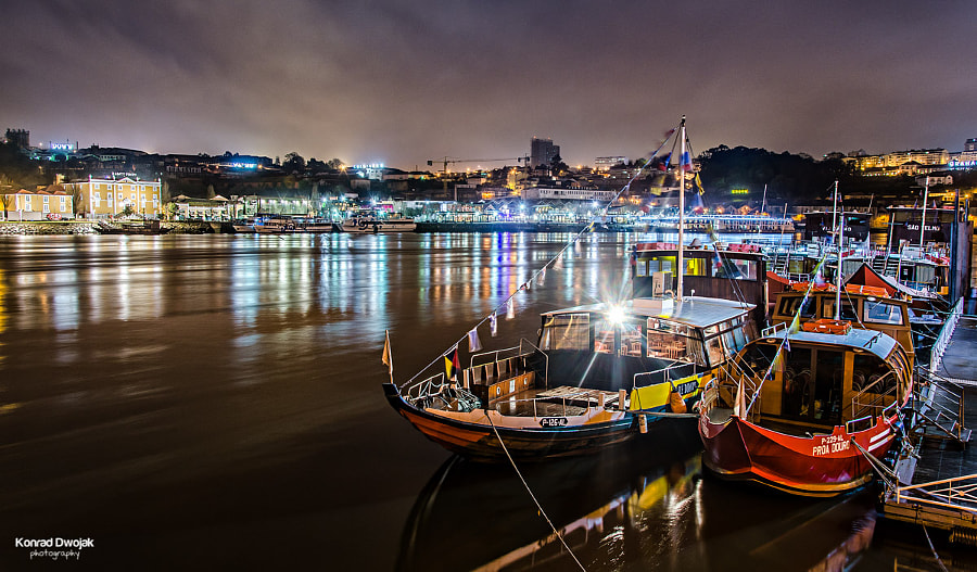 Duoro River in Porto at night by Konrad Dwojak on 500px.com