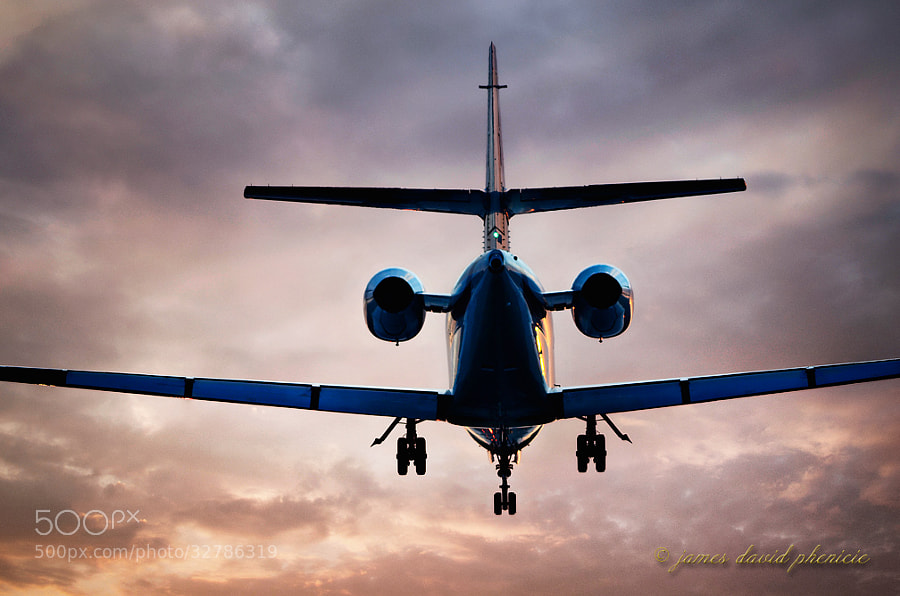 Private corporate jet on short final at sunset to runway at Palomar Airport.© James David Phenicie     All Rights Reserved.