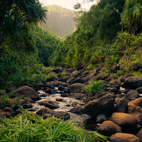 River crossing on the Kalalau Trail near Hanakapiai Beach