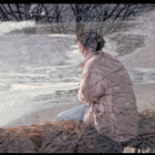 Diana at the seashore, lost in thought.  A woman sitting on a driftwood log at the shore at Point-No-Point, BC, and a shot of snow-covered tree branches from Rice Lake in North Vancouver.   In-camera double exposure on colour negative, 1993. Scanned from film.