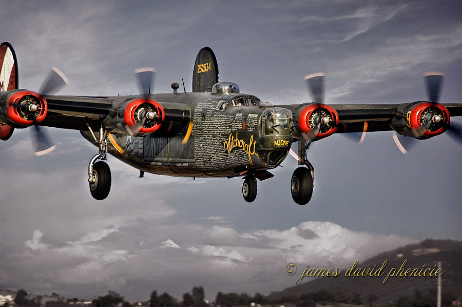 Consolidated B-24 Liberator warbird landing at Palomar Airport.Please do not use without permission or compensation.  © James David Phenicie.  All Rights Reserved.