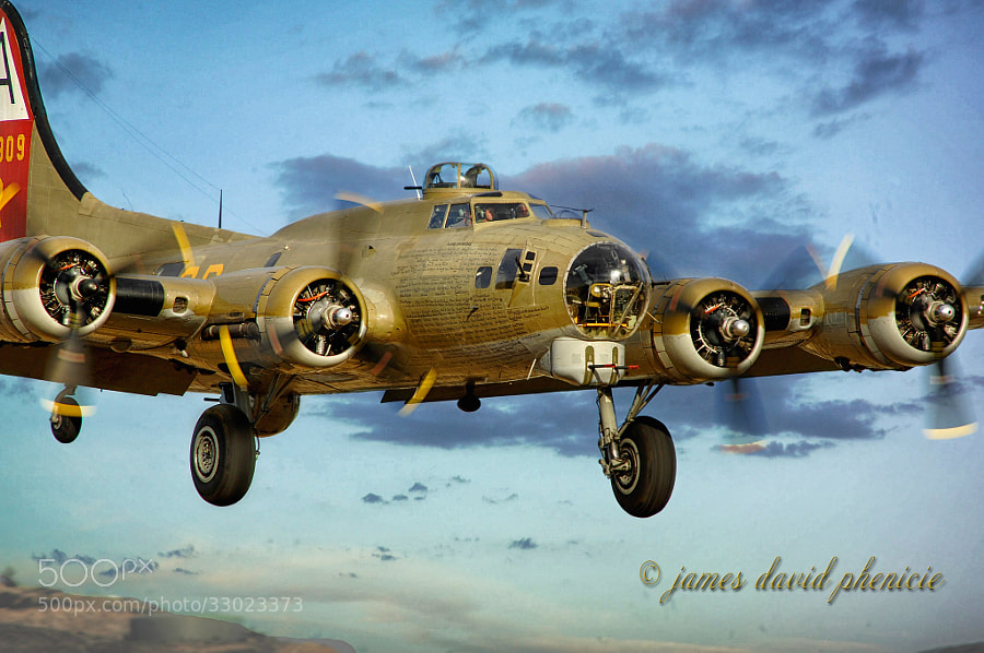 Boeing B-17 Flying Fortress landing at Palomar Airport.Please do not use without permission or compensation. © James David Phenicie.  All Rights Reserved.