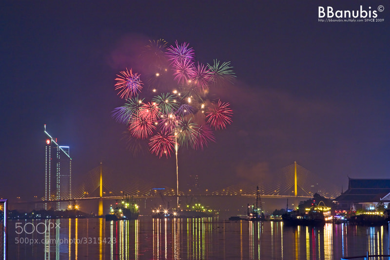 Photograph ASAHI Fireworks over Rama9 Bridge by BBanubis T. on 500px