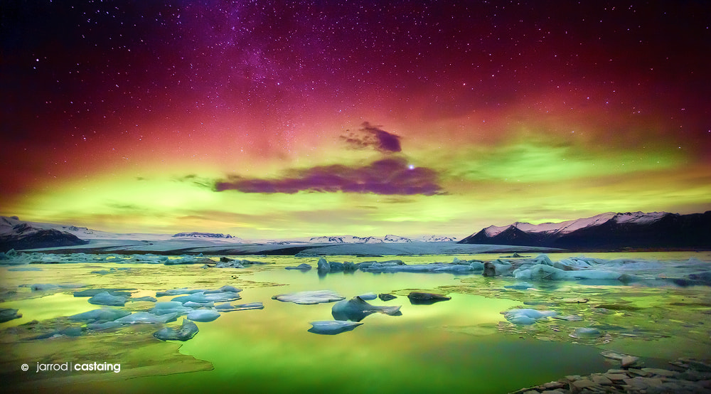 Photograph Aurora Borealis over Glacier Lagoon by Jarrod Castaing on 500px