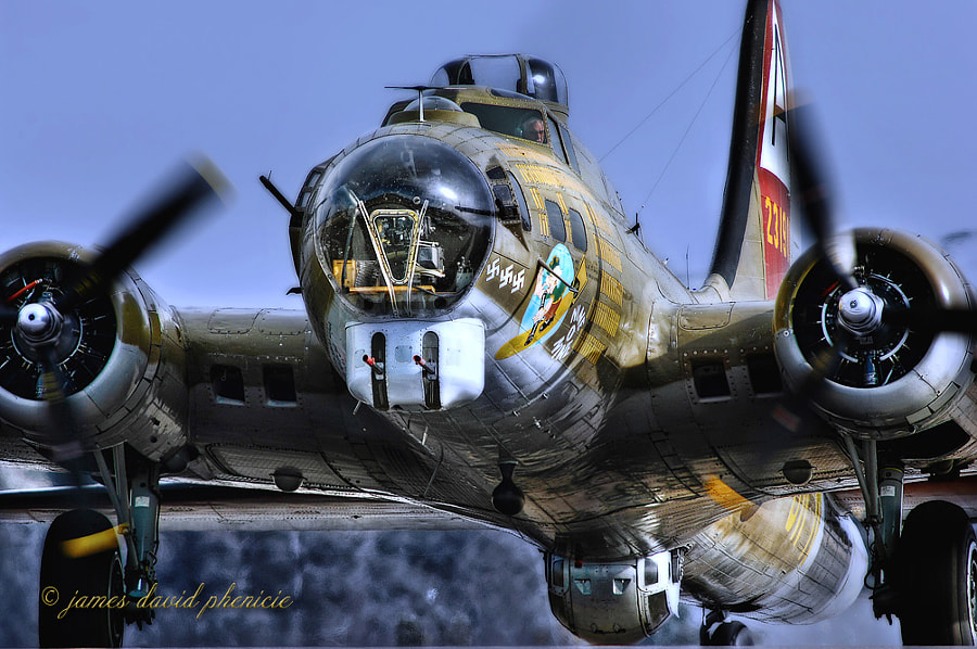 Boeing B-17 Flying Fortress getting ready to taxi into takeoff position at Palomar Airport.  Please do not use without permission or compensation.   © James David Phenicie.   All Rights Reserved.