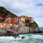 A late Winter Storm shows why the residents of Manarolla only summer here.  The region of Cinque Terre in Northern Itally offer several views such as this one while hiking local park paths.