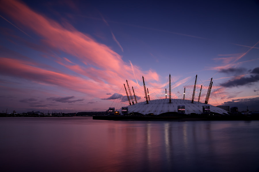 Sunset at the O2 Arena