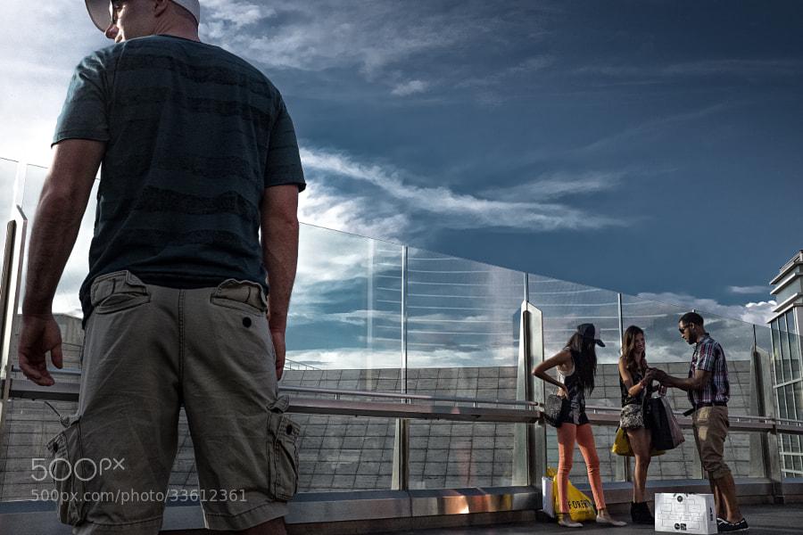 On a sky bridge at Fashion Show Mall & Treasure Island, Las Vegas Strip.