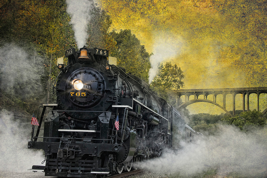The massive yet stately NPK765 comes to rest at the station in Cuyahoga Valley National Park.