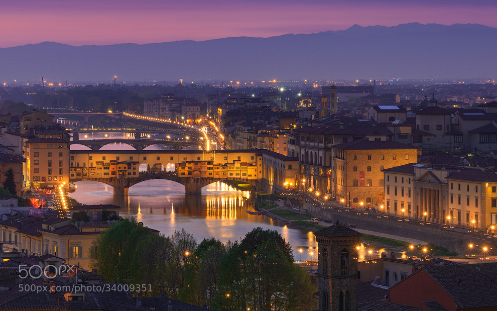 Photograph Ponte Vecchio at Night by Mike Reyfman on 500px