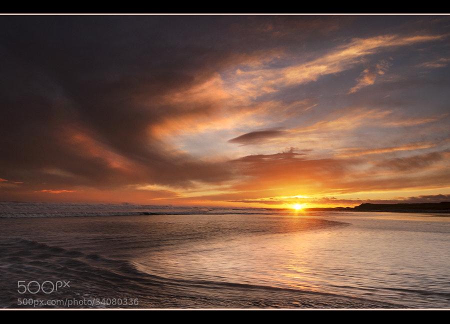 Sunrise at Cocklawburn Beach on the Northumbrian coast.