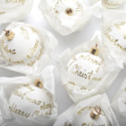 White christmas balls on white background