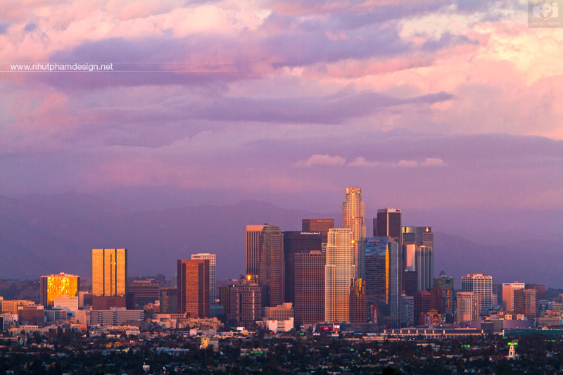Photograph Pink Evening at Downtown Los Angeles! by Nhut Pham on 500px