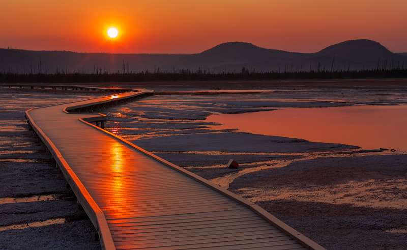 Photograph Grand Prismatic Springs Sunset  by Nate Miller on 500px