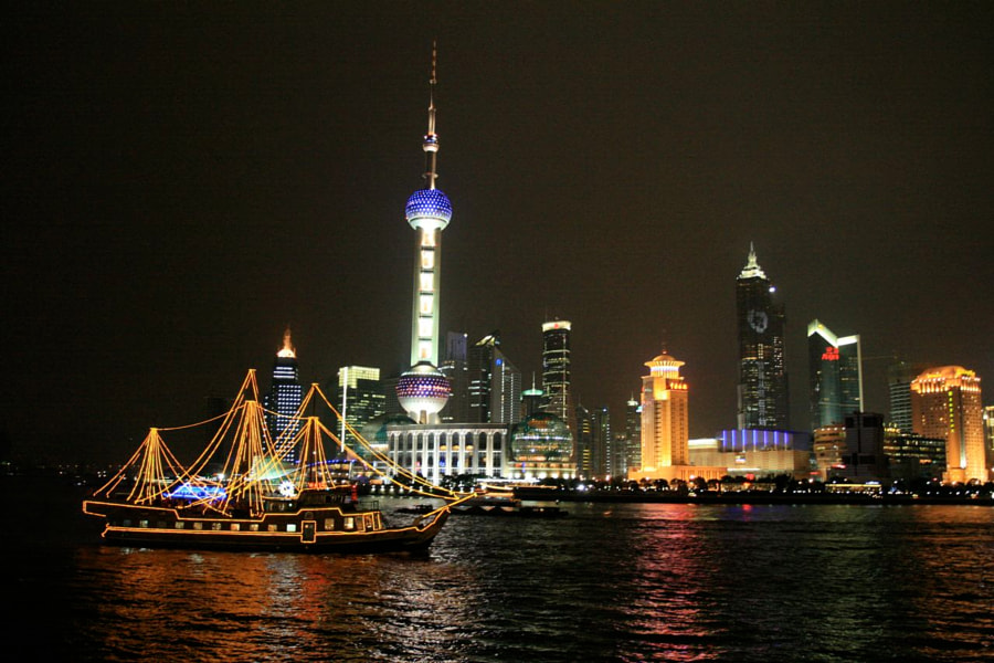 Night scenery of Huang Pu River and Pudong, Shanghai
