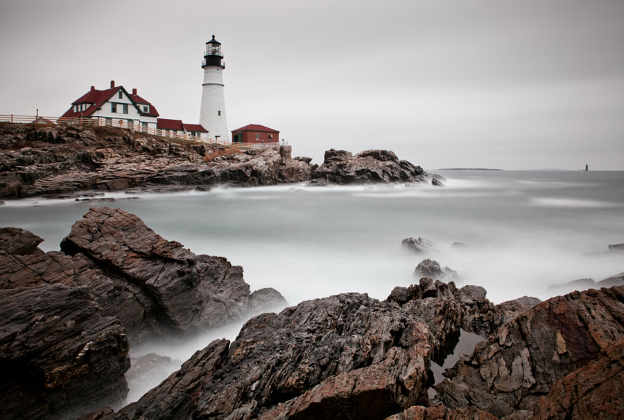 Portland Head Light on a blah, overcast afternoon in Maine.