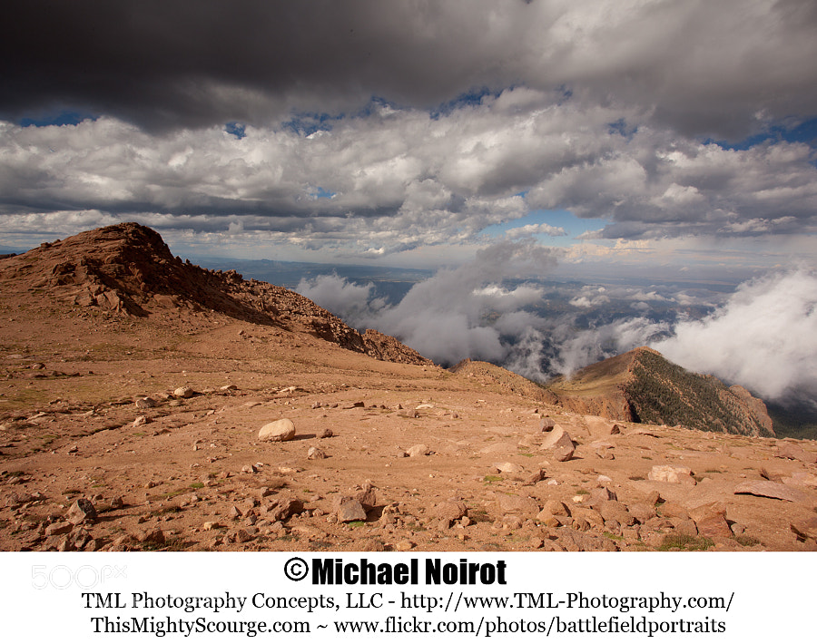 These ominous clouds were just below the summit of Pikes Peak, near Colorado Springs, Colorado.  Camera: Canon EOS 5D Mark II Lens: Canon EF 17-40mm f4L USM Zoom: 17mm Shutter: 1/200 second Aperture: f/20 ISO: 200
