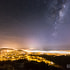 The Milky Way Rises Above A Foggy Wellington, New Zealand