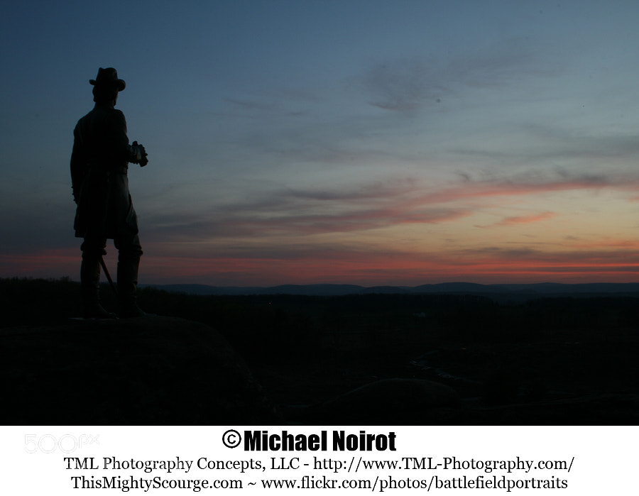 This is the US Major General Gouverneur K. Warren statue keeping track of movements in the Valley of Death - Gettysburg National Military Park.  Camera: Canon EOS 7D Lens: Canon EF 17-40mm f4L USM Zoom: 24mm Shutter: 30 seconds Aperture: f/13 ISO: 400