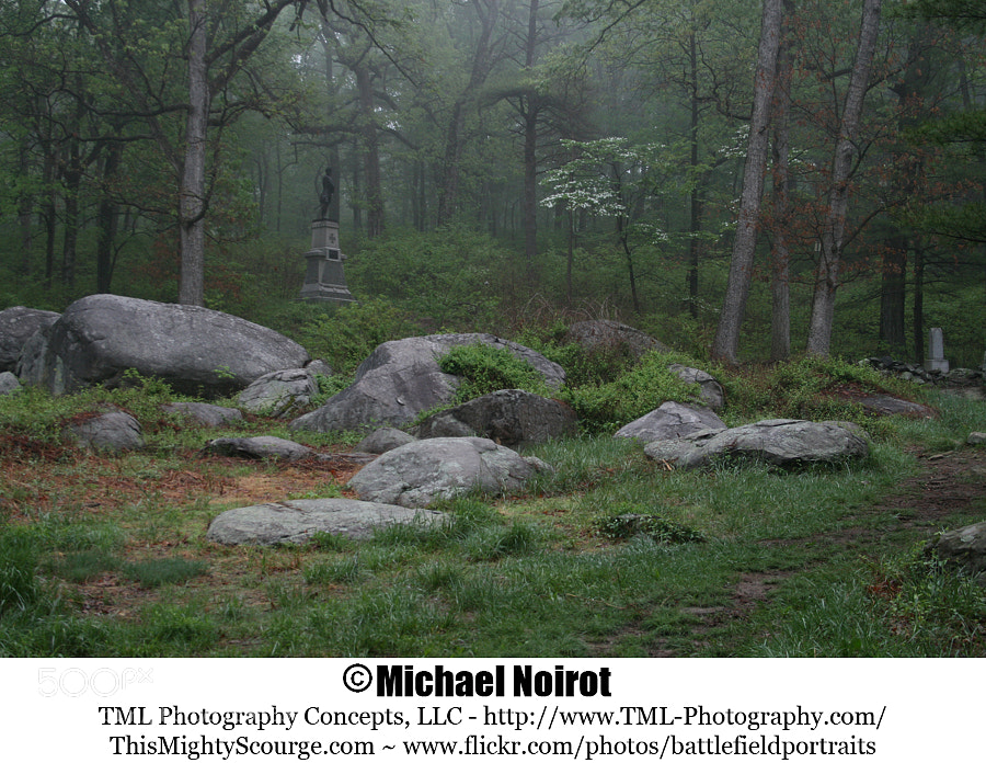 This is the southern slope of Little Round Top - Gettysburg National Military Park. Here is where Colonel Joshua Chamberlain led the historic defense of Little Round Top.  Camera: Canon EOS 7D Lens: Canon EF 17-40mm f4L USM Zoom: 24mm Shutter: 1/25 second Aperture: f/8.0 ISO: 400