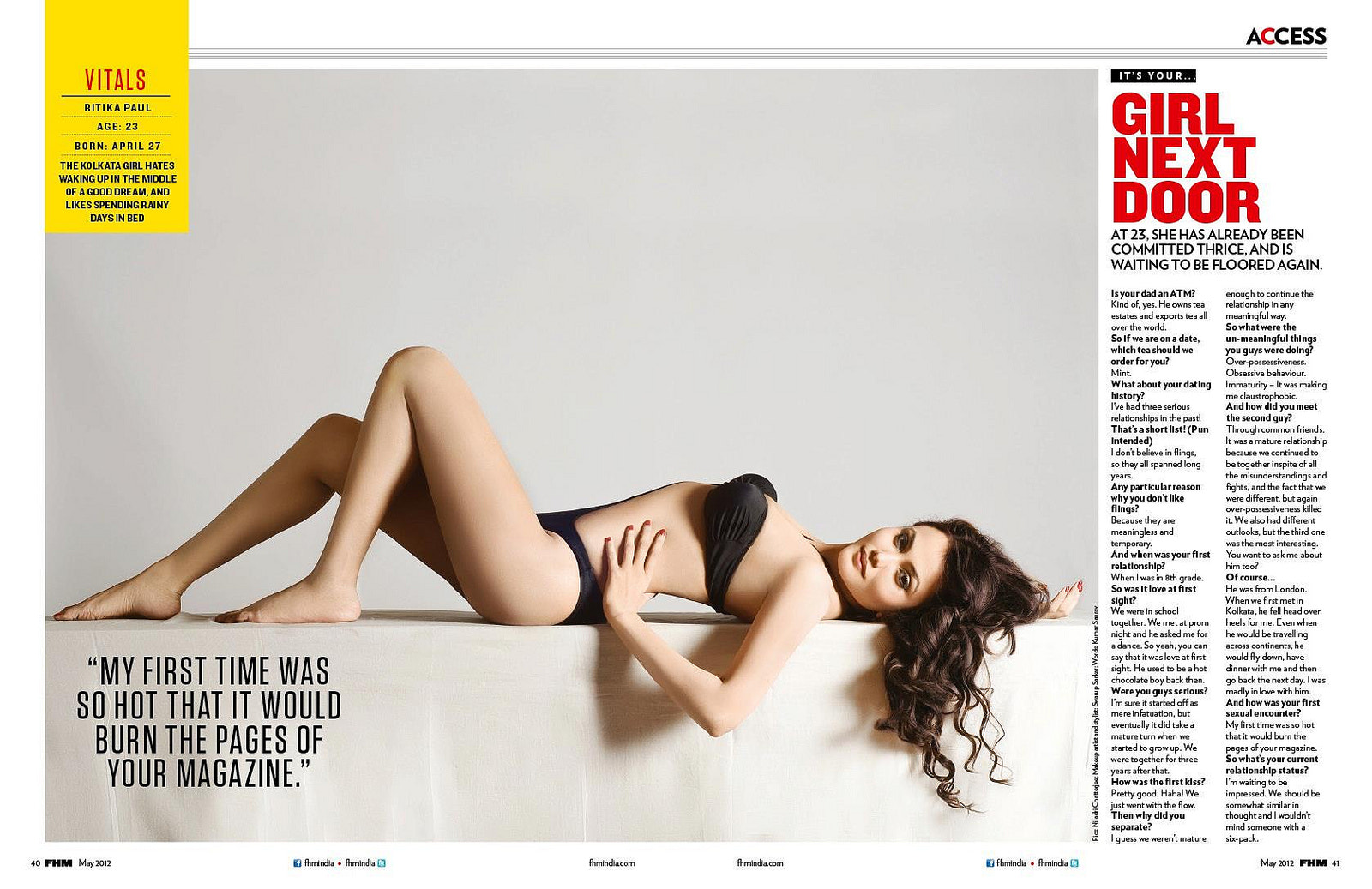 Photograph Ritika Paul shot by me, FHM India Girl Next Door, May 2012 by Niladri Chatterjee on 500px