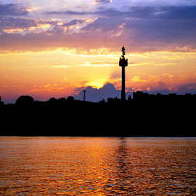 The sunset of city and Danube