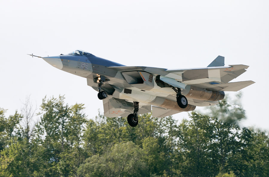 Second image of the beautiful Russian Sukhoi T-50 fighter jet which features elements of 'stealth-technology', super-cruise capability, advanced avionics suite including an X-band active phased-array radar.This time just before landing after the display.Shot taken on August the 19th 2011 at the Moscow - Zhukovsky (Ramenskoye) (UUBW) Airport during the MAKS Airshow that year.Best wishes and have a nice day,Harry
