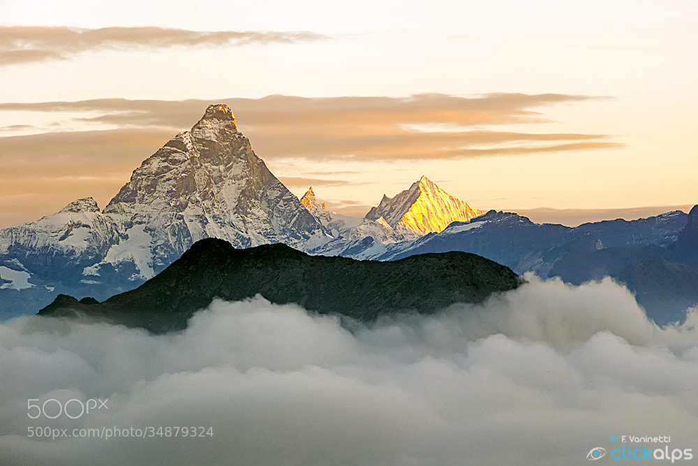 Photograph Sunrise on Matterhorn, Zinalrothorn and Weisshorn by Francesco Vaninetti on 500px